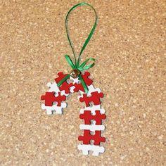 Puzzle Piece Candy Cane Ornament