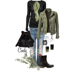 light torn jeans, black tee, olive light jacket, black boots, black bag...outfit idea for tomorrow?