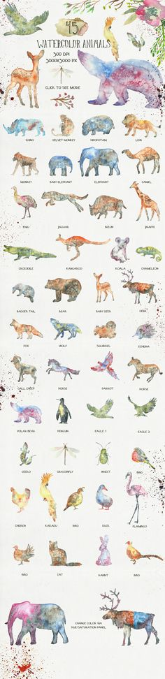 This is a collection of 45 watercolor animal silhouettes. They were painted in a wet watercolor technique. Great to use in logo design, business cards, avatars, birthday invitations, baby shower cards, web design, posters, flyers and more. There is also floral design elements, splatters and watercolor form included to add a depth to your designs. Also you will find pre-made logo templates, wreaths and bouquets, seamless patterns with a master tile file and several card templates.