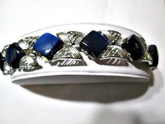Signed Vintage Navy Blue Moonglow Diamond or Square by KulturePop