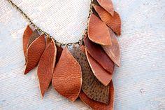 leather leaves bib necklace by jessamity on etsy $54