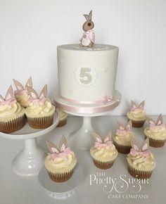 Beatrix Potter Flopsy Bunny birthday cake and cupcakes Bunny Birthday Cake, Girl Birthday Cupcakes, Girl First Birthday, Mini Cupcakes, Cupcake Cakes, Birthday Parties, Birthday Cakes, Birthday Ideas, Happy Birthday