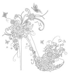 Gorgeous high heel shoe: Floating Lace Adult Coloring Book I AliExpress