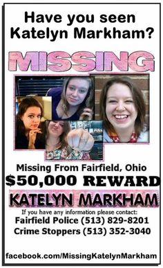 Katelyn Markham, Missing Fairfield Ohio, http://www.missingpersonsofamerica.com #Missing person