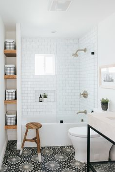 White Bathroom Ideas - Prior to you begin enhancing an all-white bathroom, there are a couple of things you require to understand. An experienced shares her essential white bathroom . Bathroom Elegant White Bathroom Ideas to Inspire Your Home Small Space Bathroom, Mold In Bathroom, Upstairs Bathrooms, Bathroom Renos, Bathroom Flooring, Remodel Bathroom, Bathroom Shelves, Bathroom Bin, Flooring Tiles