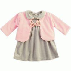Ensemble bébé fille robe en velours gris + gilet rose