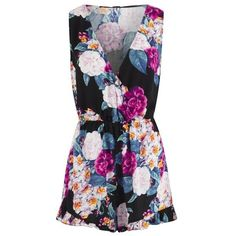 MINKPINK Women's Secret Garden Playsuit ($70) ❤ liked on Polyvore featuring jumpsuits, rompers, dresses, multi, ruffle romper, short romper, playsuit romper, short rompers and floral print romper
