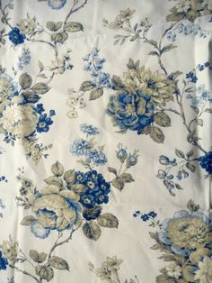 Waverly Coventry Hill home decorating fabric, remnant. Navy & royal blue, tan and gold on ivory. Flowers/floral/roses. $8.00 cotton fabric remnant!