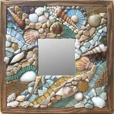 """Minerva Mosaics Gallery """"Sea and Surf"""" by Pebbles, shells, glass tile.so pretty Mirror Mosaic, Mosaic Art, Mosaic Glass, Mosaic Tiles, Glass Art, Stained Glass, Tiling, Mirror Mirror, Wall Tiles"""