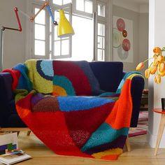Un plaid en tricot inspiré de Sonia Delaunay création La Droguerie #tricot