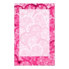 Cute floral hearts in pink stationery