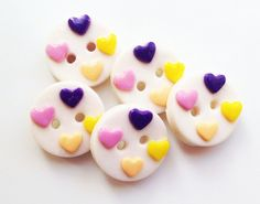 """Valentine's Day Love polymer clay handmade buttons  ( set of 4  5/8""""). $6.25, via Etsy."""