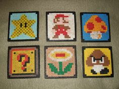 Mario coasters from melty beads -- I'm so excited to do these!!!
