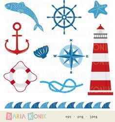 Nautical Clip Art Set-maritime clip art with lighthouse by dariakonik