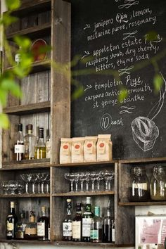 My heart skips a beat when I am around these colors. rustic weathered grey barnwoods, chalkboard and greenery. Outside wet bar Deco Restaurant, Restaurant Design, Vintage Restaurant, Cafe Bar, Barn Cafe, Rustic Coffee Shop, Coffee Shops, Bar Deco, Cafe Interior