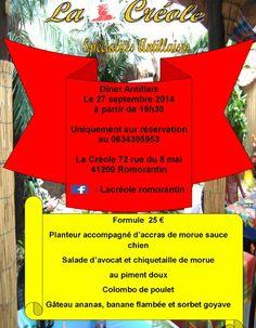 """Venez nombreux dans un décor inimaginable les Antilles sont en France dans la région Centre....venez vous évadez le temps d'un repas """"SAVEUR DES ÎLES"""" le 27 septembre. La Créole 72, rue du 8 mai 41200 Romorantîn. Photos a suivre..."""