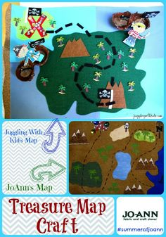 JoAnn Fabric and Crafts asked us to replicate one of their crafts out of their summer catalog.  Check out the fun pirate treasure map that we made.  jugglingwithkids.com  #summerofjoann