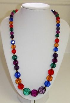 """CAT'S .99 AUCTIONS!  SUNDAY THROUGH WEDNESDAY 8PM-10PM CST!! https://www.facebook.com/AColourfulPast  Vintage Multi Jewel Tone Colored Lucite Bead Necklace 20"""" 