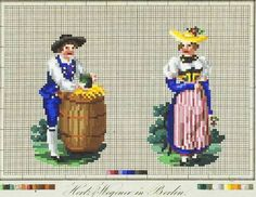 I don't know if this represents a century regional costume or not, but it… Vintage Cross Stitches, Vintage Embroidery, Embroidery Patterns, Retro 4, Cabbage Roses, Cross Stitch Samplers, Needlepoint, Wool, Antiques
