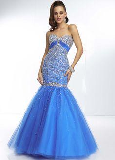 Love the color and design! #thepromdresses Mori Lee 95117 - Cobalt Beaded Strapless Mermaid Prom Dresses Online