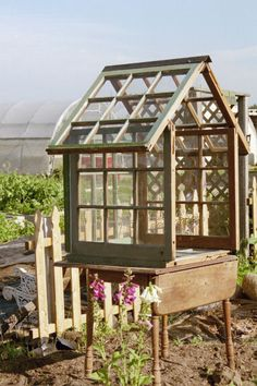to make a mini greenhouse from old windows (step-by-step)(from Flea Market Gardening) by Marlene Rock Hall
