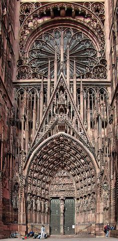Cathedrale de Strasbourg, France.  Begun in 1015 & completed by 1439.  It is a mix of Romanesque and Gothic architecture.  It was the tallest building in the world for over 200 years (1647-1874).  Sandstone from the Vosges used in construction gives the cathedral its characteristic pink hue.