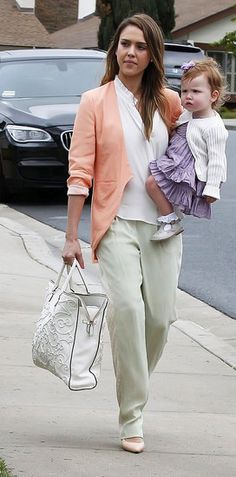 35 Unparalleled Street-Style Looks Courtesy of Jessica Alba: Jessica looked picture-perfect in pastels, a sherbet-colored blazer, and light-green trousers while celebrating Easter with her family in Camarillo, CA.