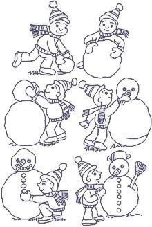 Making a Snowman Redwork Set