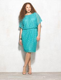 Plus Size Crochet Lace Blouson Dress