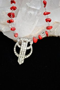 $85 RED HOT MOMMA Vintage Rhinestone Pendant necklace with red vintage crystals and free-form coral beads wrapped in Sterling Silver wire