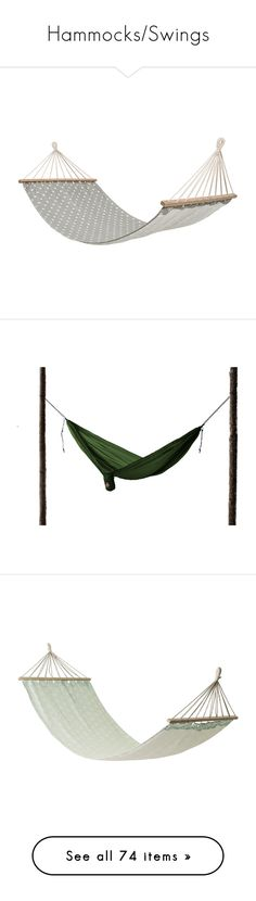 """Hammocks/Swings"" by dazed-and-dreamy ❤ liked on Polyvore featuring home, outdoors, patio furniture, hammocks & swings, fillers, grey, outdoor hammock swing, outdoor hammock, grand trunk hammock and cotton hammock"