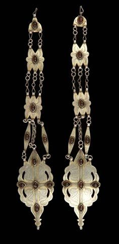 Afghanistan | Pair of women's headdress ornaments; silver, partially gilded, carnelian.  // ©Quai Branly Museum. 71.1989.71.69.1-2
