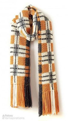 Big Tartan Crochet Super Scarf - free chunky crochet pattern by Patons for Yarnspirations. Crochet Scarves, Crochet Shawl, Crochet Clothes, Crochet Stitches, Knit Crochet, Crochet Patterns For Scarves, Chunky Crochet Scarf, Crochet Crowd, Knit Cowl