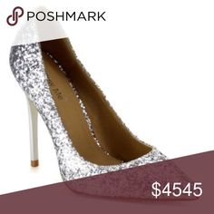 """NEW❣️Silver Glitter High Heel Pumps~Hello Holidays ~ Silver Glitter High Heel Pumps. The count down is on for the holiday season. Light up the room with these beauties!!! They are running small, so size up half size. Available in Sizes 5.5-10 Heel is slightly higher than 3.5"""". No Trades. Price is Firm Unless Bundled. 2 Items 10% Off 3 Items 15% Off. GlamVault Shoes Heels"""
