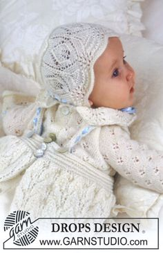 Baby Knitting Patterns Sweaters Christening gown with lace in BabyAlpaca Silk ~ DROPS design Baby Knitting Patterns, Knitting For Kids, Lace Knitting, Baby Patterns, Crochet Lace, Crochet Pattern, Free Crochet, Drops Design, Bonnet Pattern