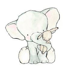 Elephant Hug  8X10 Nursery Art Print  bunny and elephant. $10.00, via Etsy.