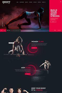 fitness Design layout - Crossfit Fitness One Page PSD Template Ui Ux Design, Design Sites, Design Responsive, Design Logo, Web Design Tips, Flat Design, Modern Design, Web Design Awards, Graphic Design