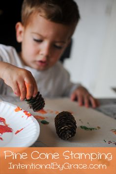 Autumn Theme Toddler Time - Pine Cone Stamping - Fall Craft