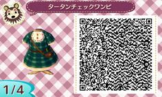 ACNL QR Code: Greenish Blue Tartan Dress w/ Satchel