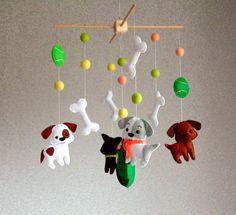 Felt dog mobile Felt baby mobile Puppy mobile Crib mobile Animals mobile Nursary decor Baby Shower G Baby Cot Mobiles, Baby Crib Mobile, Puppy Nursery, Felt Mobile, Felt Dogs, Felt Baby, Baby Learning, Baby Dogs, Handmade Toys