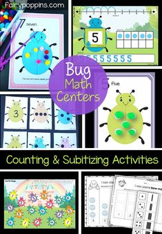 Bug math centers which focus on counting and subitizing. Great activities for a bug themed unit. ~ Fairy Poppins