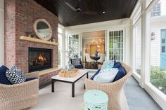 Studio M Interiors (House of Turquoise) Outdoor Rooms, Outdoor Living, Outdoor Areas, Porch Fireplace, Sunroom Decorating, Decorating Ideas, Outside Room, Minnesota Home, House Of Turquoise