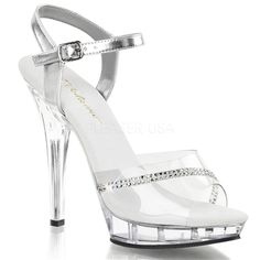 "Fitness Competition Heels - Sexy Clear 5"" High Heels Low Platform Jewel Stripe Sandals"