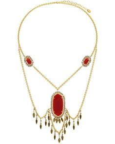 Know-My-Statement Quartz Necklace (Red)  #necklace #necklaces #statementnecklace #statementnecklaces #jewelry #gold #goldplated