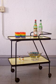 Retro Mid Century Two Tier Kitchen / Bar Serving Cart
