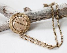 Vintage Bulova 17 Jewel Watch Necklace by SpruceCove