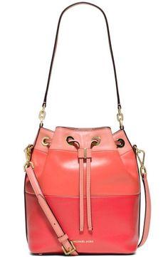 Michael Kors Dottie Large Bucket Bag Calf Leather Pink Grapefruit Peach $358 | eBay