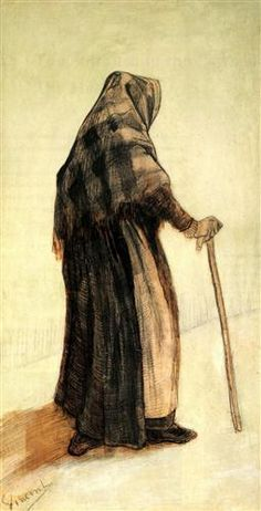 Old Woman with a Shawl and a Walking-Stick - Vincent van Gogh 1882