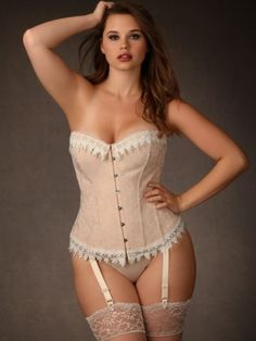 Make an elegant statement in our blush Jacquard Corset featuring ivory soft cotton lace tr...-dm742Rb9