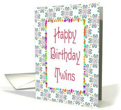 Happy Birthday-Twins-Graphic Design Card. Recently purchased by a customer in California. Thank You!